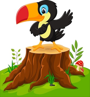 Glückliches tukan der karikatur auf baumstumpf