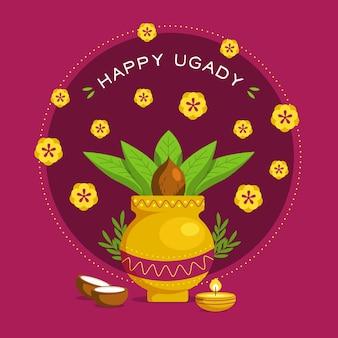 Glückliches ugadi banner im flachen design