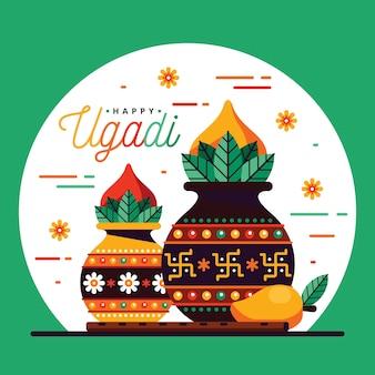 Glückliches ugadi flaches design