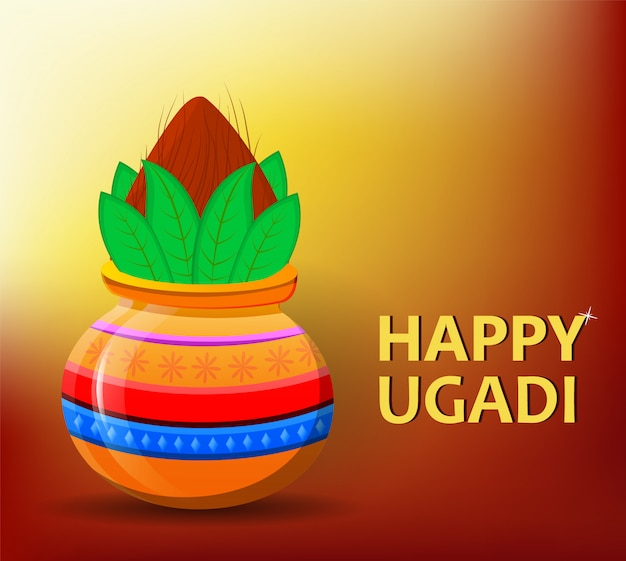 Glückliches ugadi und gudi padwa hindu new year