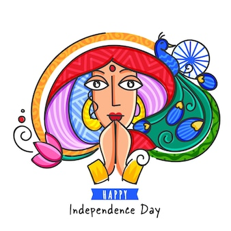 Glückliches unabhängigkeitstag-konzept mit bunter frau, die namaste tut, pfau