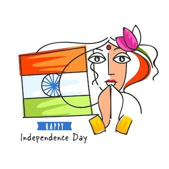 Glückliches unabhängigkeitstag-konzept mit doodle-stil-frau, die namaste und indien-flagge tut