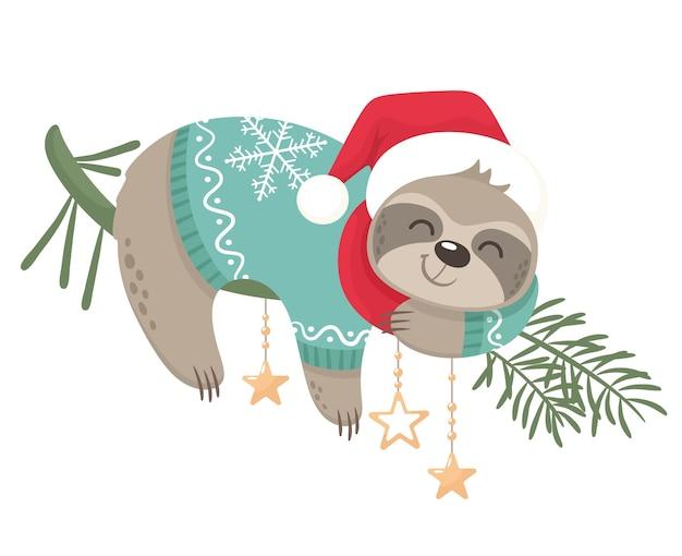 Glückliches und süßes faultier für weihnachtsferien. fröhliche weihnachten