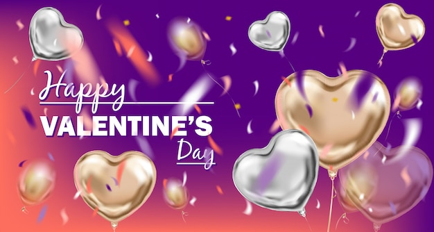 Glückliches valentinsgruß-tagesbild mit metallischen ballonen