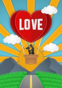 Glückliches valentinstag-grußkartenpaar, das auf rotem herzballon mit sonne, stichen und nähtenarthintergrund fliegt