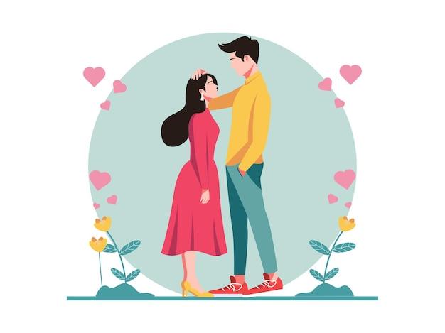 Glückliches valentinstag-illustrations-romantisches paar