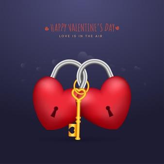Glückliches valentinstag-konzept mit 3d-vorhängeschlössern in herzform und einem goldenen schlüssel