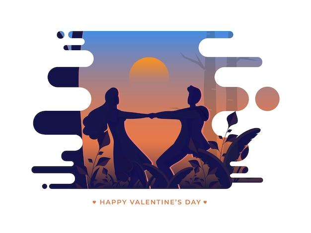Glückliches valentinstag-konzept mit silhouette-paar, das tanz auf abstraktem sonnenuntergang oder sonnenaufganghintergrund tut.