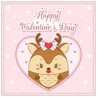 Glückliches valentinstag niedliches hirschmädchen, das postkarte großes herz zeichnet