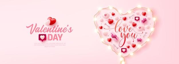 Glückliches valentinstag-plakat oder fahne mit symbol des herzens von led-lichterketten und valentinstag-elementen auf rosa