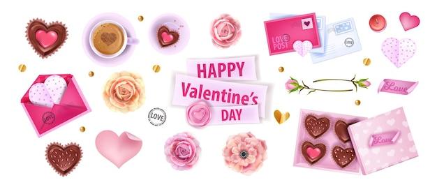 Glückliches valentinstag romantisches set mit herzen, kuchen, briefen, umschlägen, schokoladenkiste.
