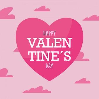 Glückliches valentinstag rosa herz und wolken