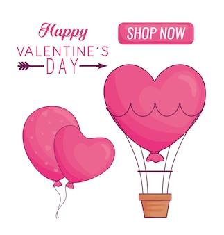 Glückliches valentinstagbanner mit herzballons und heißluftballon