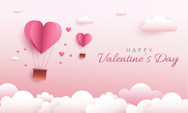 Glückliches valentinstaggrußkartendesign. feiertagsfahne mit heißluftherzballon