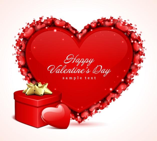 Glückliches valentinstaggrußkartendesign und rotes herz mit wunschdesign