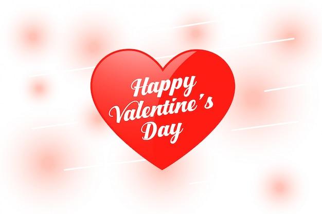 Glückliches valentinstagherz mit unscharfen lichtern