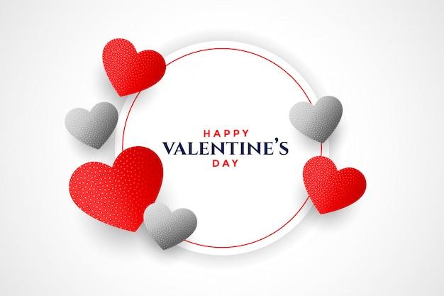 Glückliches valentinstagherzrahmen-grußkartendesign