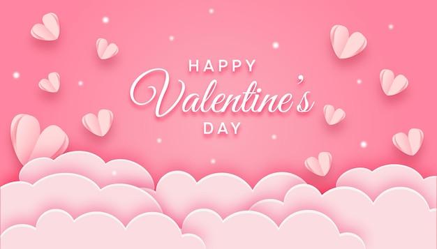 Glückliches valentinstagkonzept in papierform