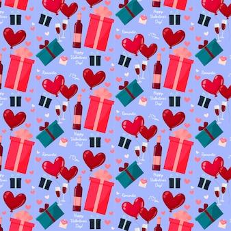 Glückliches valentinstagmuster. romantisches date, geschenke, wein und gläser.