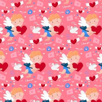 Glückliches valentinstagmuster. süßer amor, liebespost, taube und herzen.