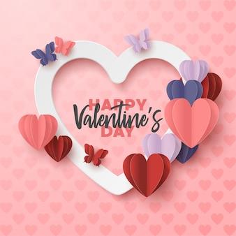 Glückliches valentinstagpapier schnitt art mit bunter herzform im rosa