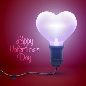 Glückliches valentinstagplakat mit begrüßungsinschrift und realistischer beleuchteter verdrahteter glühbirne in herzformvektorillustration