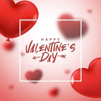 Glückliches valentinstagplakat. vektorillustration mit realistischen herzballons. tapete, flyer, einladung, plakate, broschüre, banner.