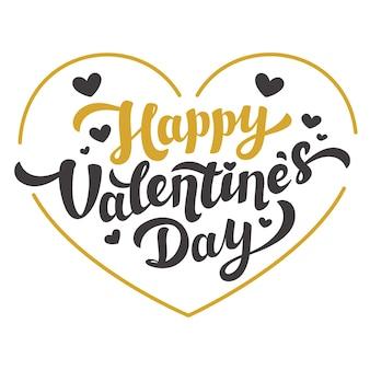 Glückliches valentinstagzitat auf goldener herztextillustration
