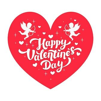 Glückliches valentinstagzitat und amoretten auf rosa herz