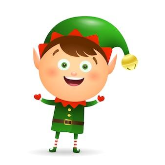 Glückliches weihnachtself, der grüne kostümkarikatur trägt
