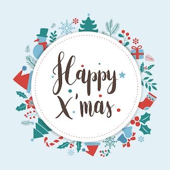 Glückliches weihnachtsgruß-ausweisvektor