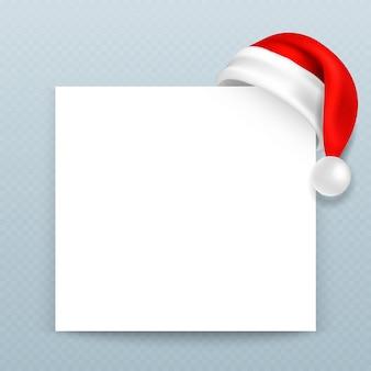 Glückliches weihnachtsgrußkarten-vektor templete mit blatt des leeren papiers und santa claus-rothut. weihnachtskarte mit weihnachtsmann-hutillustration