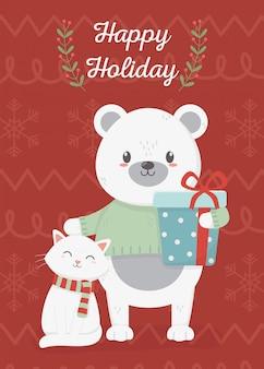 Glückliches weihnachtskarte der bären- und katzenfeier