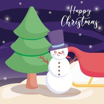 Glückliches weihnachtsschneemann mit weihnachtsbaum auf winterlandschaft