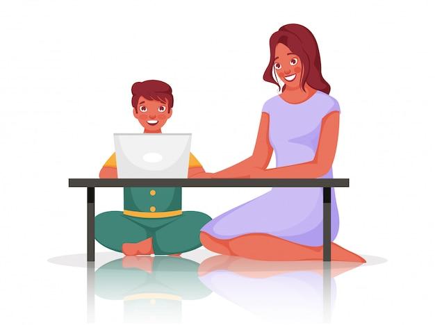 Glücksjunge, der laptop am tisch mit der jungen frau verwendet, die auf weißem hintergrund sitzt.