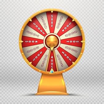 Glücksrad. das drehen des roulettes 3d dreht glückliches lotteriespiel, das symbol lokalisierte illustration spielt