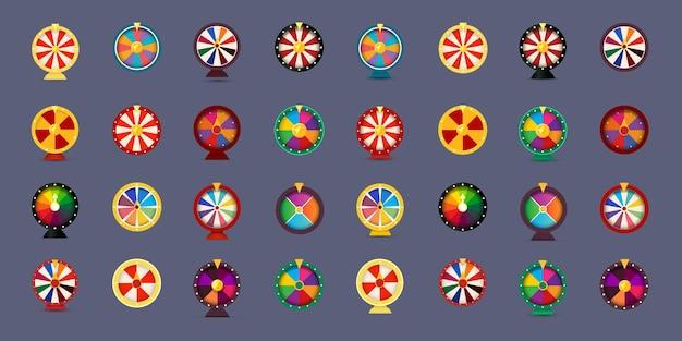 Glücksrad-icon-set d-stil-grafik für glücksspiel-online-casino-wetten und lotterie-vektorillusration