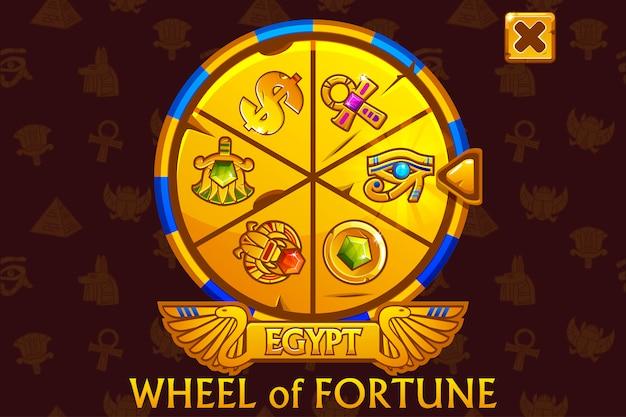 Glücksrad im ägyptischen stil für ui-spiel und casino.