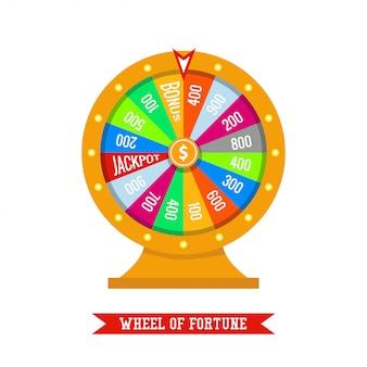 Glücksrad im flachen stil. casino illustration, glücksspielkonzept, jackpot gewinnen