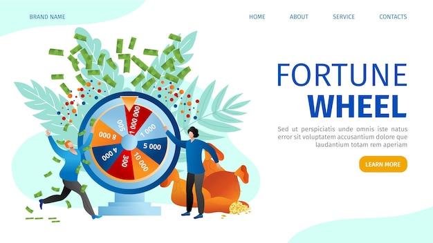 Glücksrad im online-casino, menschen spielen beim glücksspielkonzept