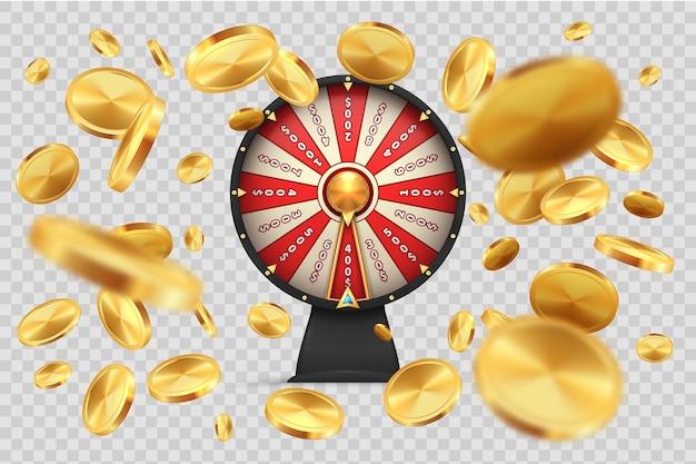 Glücksrad mit goldmünzen.