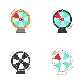 Glücksrad oder glücks-roulette-spinn-symbol vektor-set flache cartoon- und linienumriss-stroke-kunst