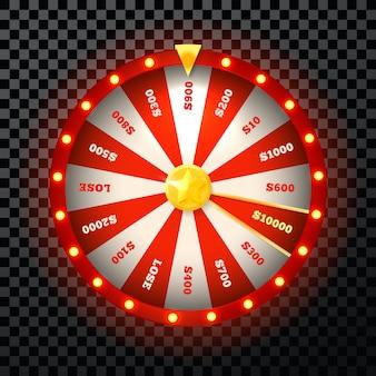 Glücksrad-symbol, rotes schönes design für web-casino, glücksspiel und gewinnspiel. illustration