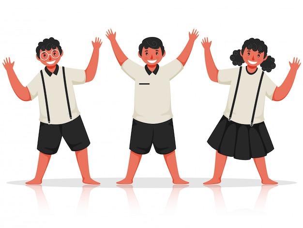 Glücksschüler kinder mit erhobenen händen in stehender pose.
