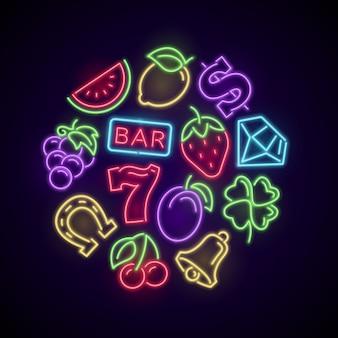 Glücksspiel neon casino-spiele mit spielautomat hellen elementen. illustration des kasinos und des pokers, spielender vektor des glücksspiels