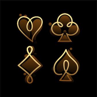 Glücksspiellogo mit einzeiligem konzept