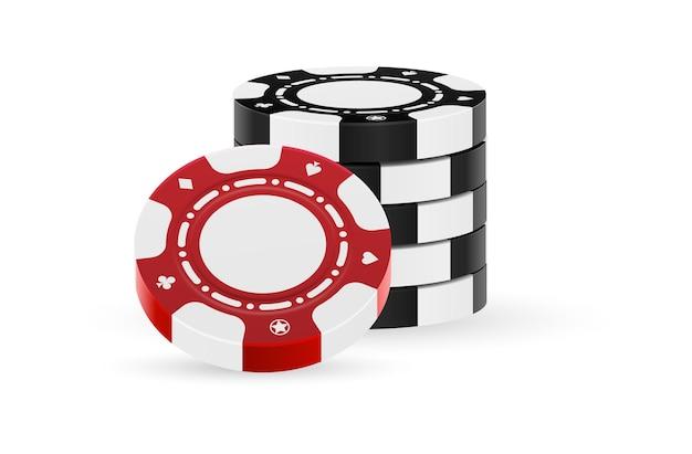 Glücksspielmarkerhaufen lokalisiert auf weißem hintergrund