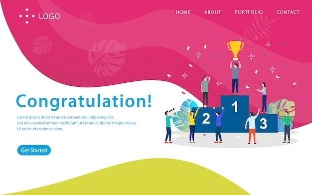 Glückwunsch, websitevektorillustration