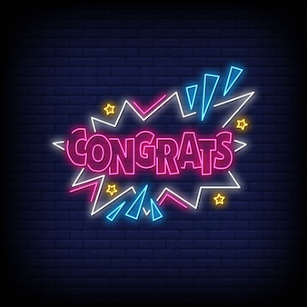 Glückwunsch wort in neon-stil. herzlichen glückwunsch neon signs. grußkarte