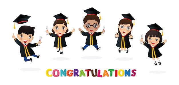 Glückwunsch zum kinderabsolvent. glücklicher student, der mit diplom springt